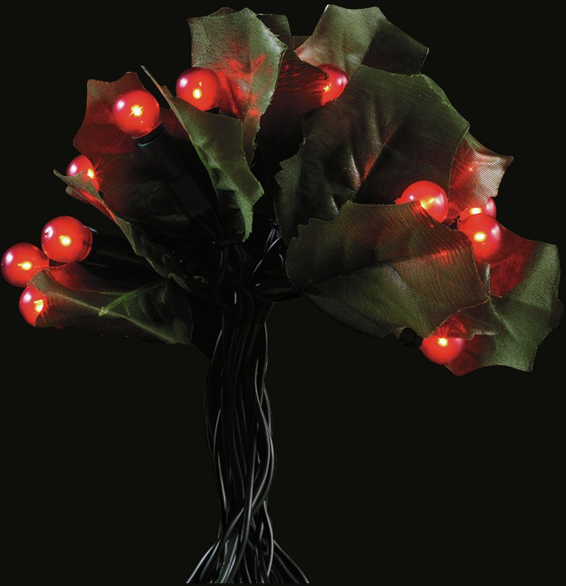 60 Holly and Berry Christmas Tree Lights - Red
