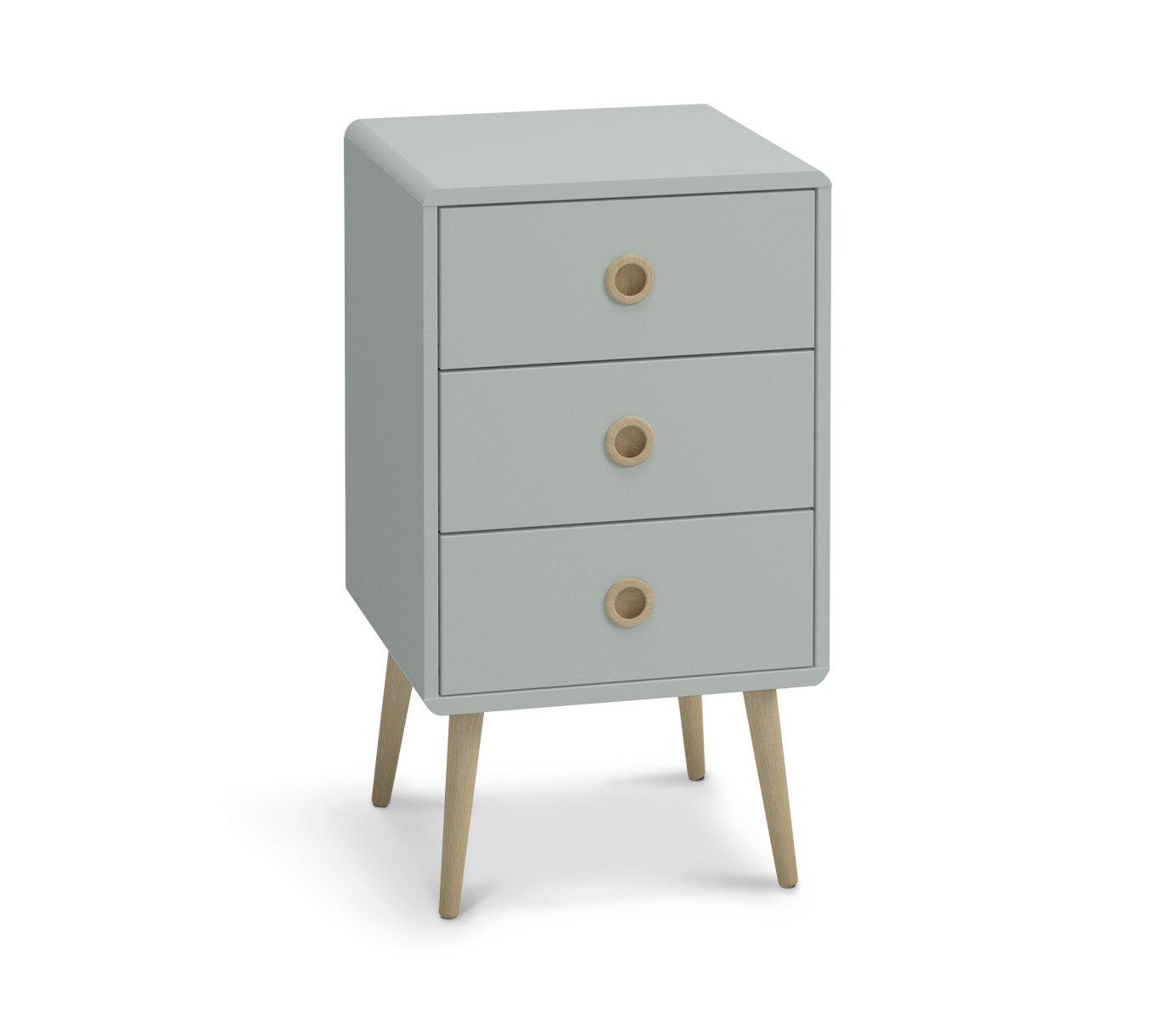 Argos Home Softline 3 Drawer Bedside Cabinet - Grey