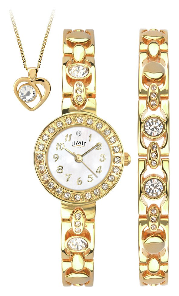 Limit - Ladies Gold Plated Bracelet, Pendant and - Watch Set
