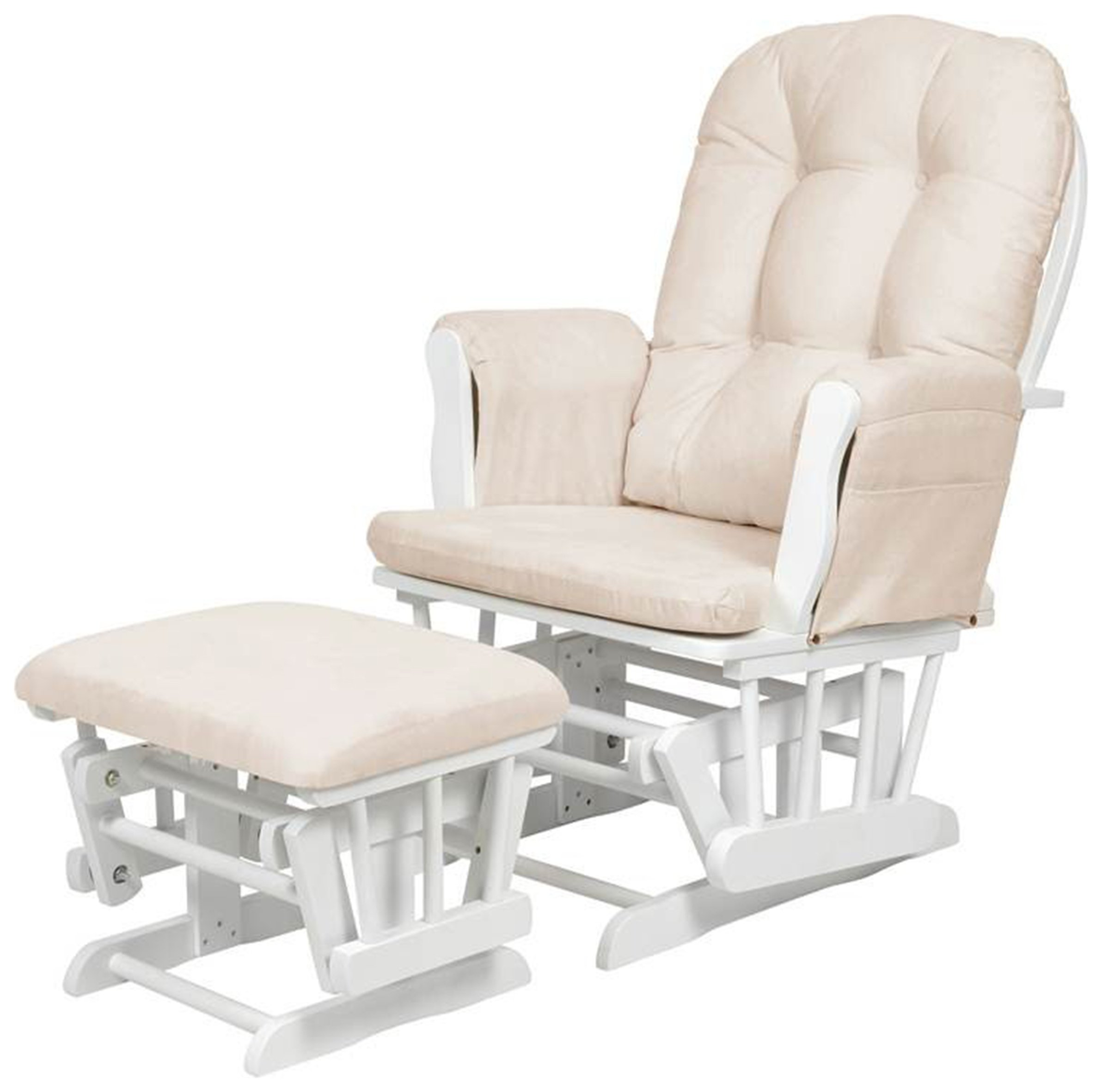 Kub Haywood Glider and Footstool - Beige and white