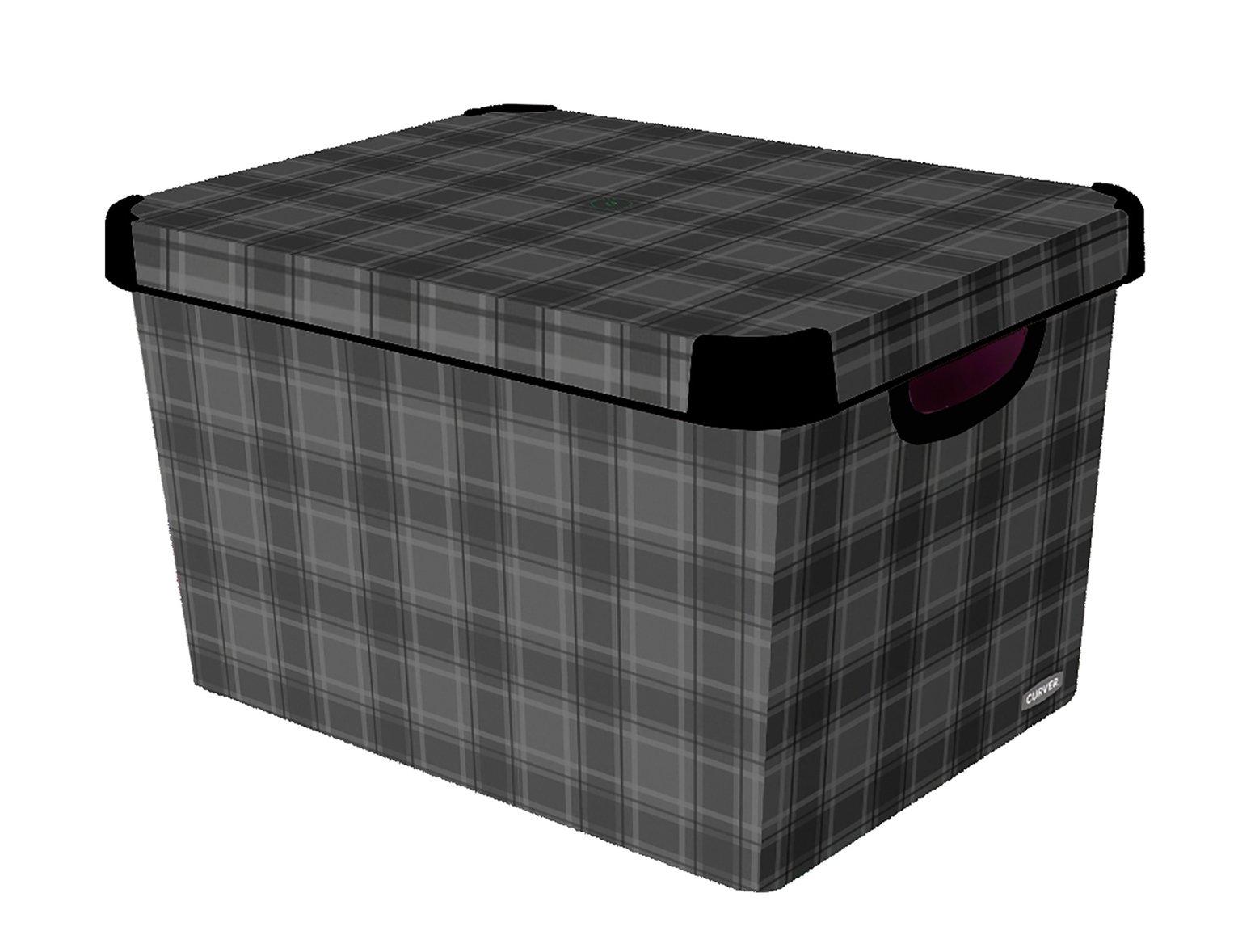 Curver Plastic Deco Box - Grey Check