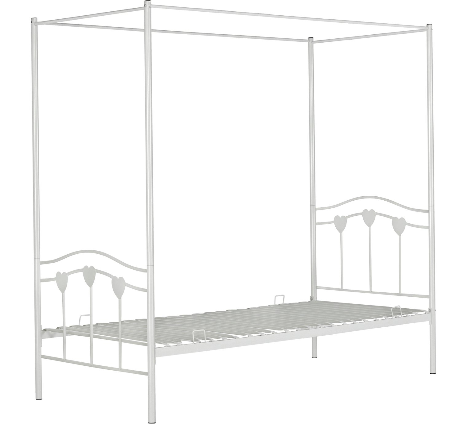 Argos Home Hearts White Single 4 Poster Bed Frame