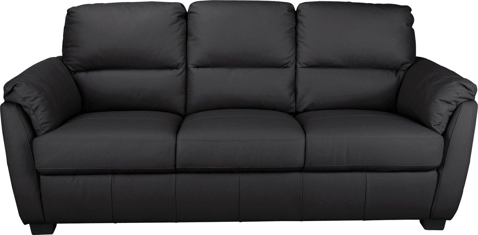 Argos Home Trieste 3 Seater Leather Sofa - Black