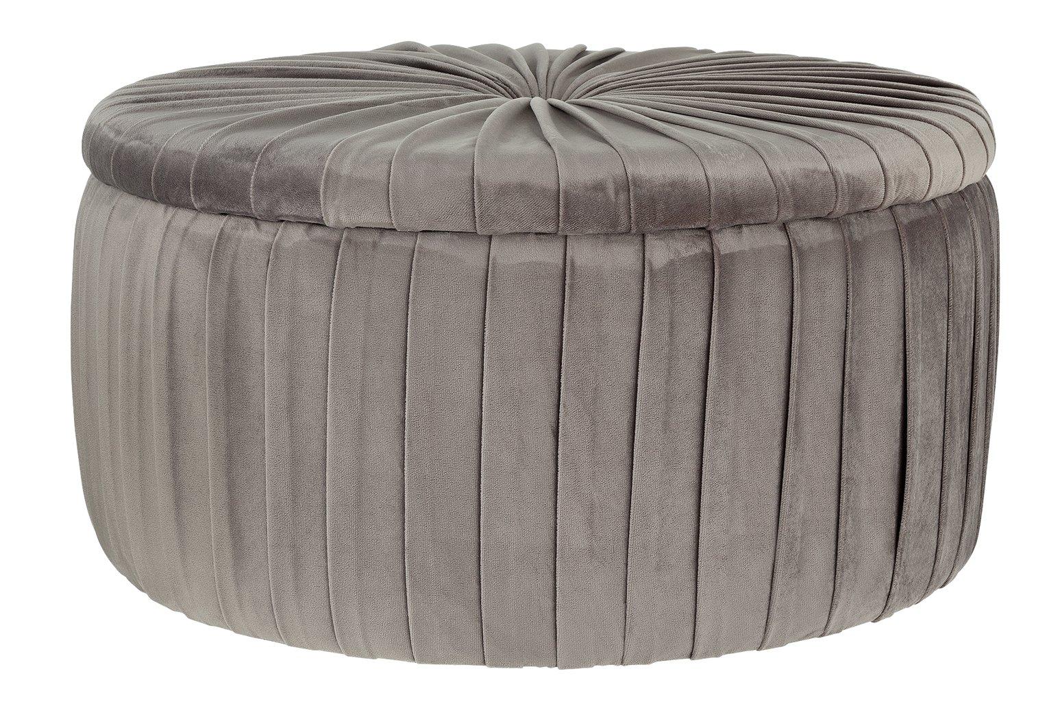 Argos Home Leckie Velvet Storage Footstool - Light Grey