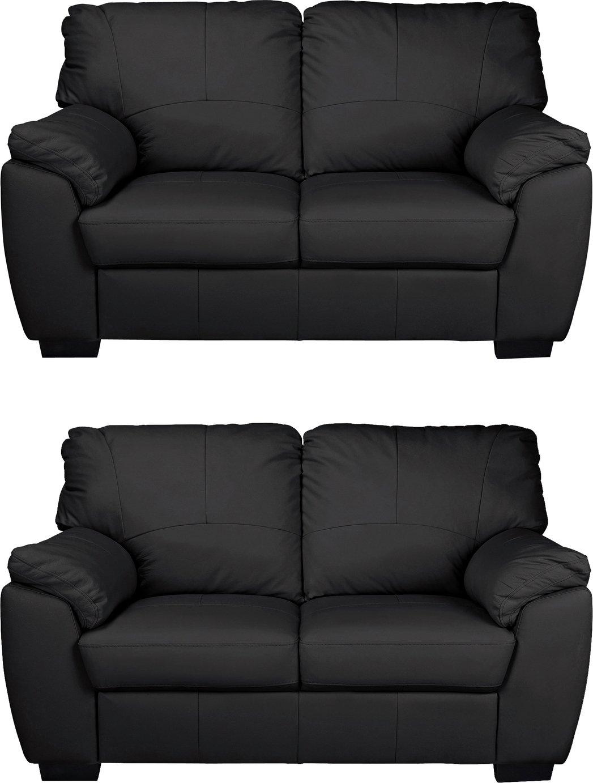 Incredible Argos Home Milano 2 Regular Leather Sofas Black Pdpeps Interior Chair Design Pdpepsorg