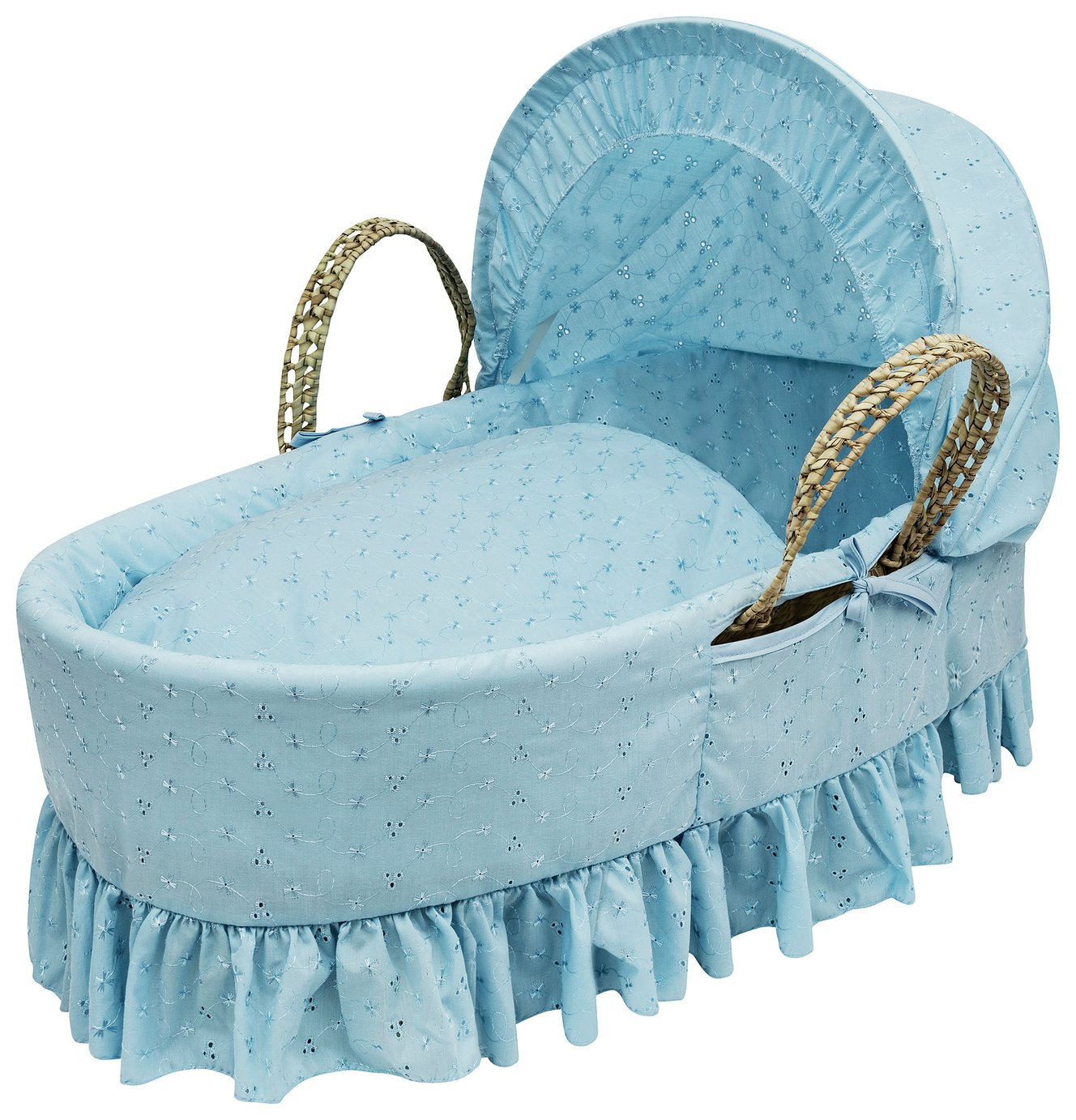 Kinder Valley Blue Broderie Anglaise Moses Basket