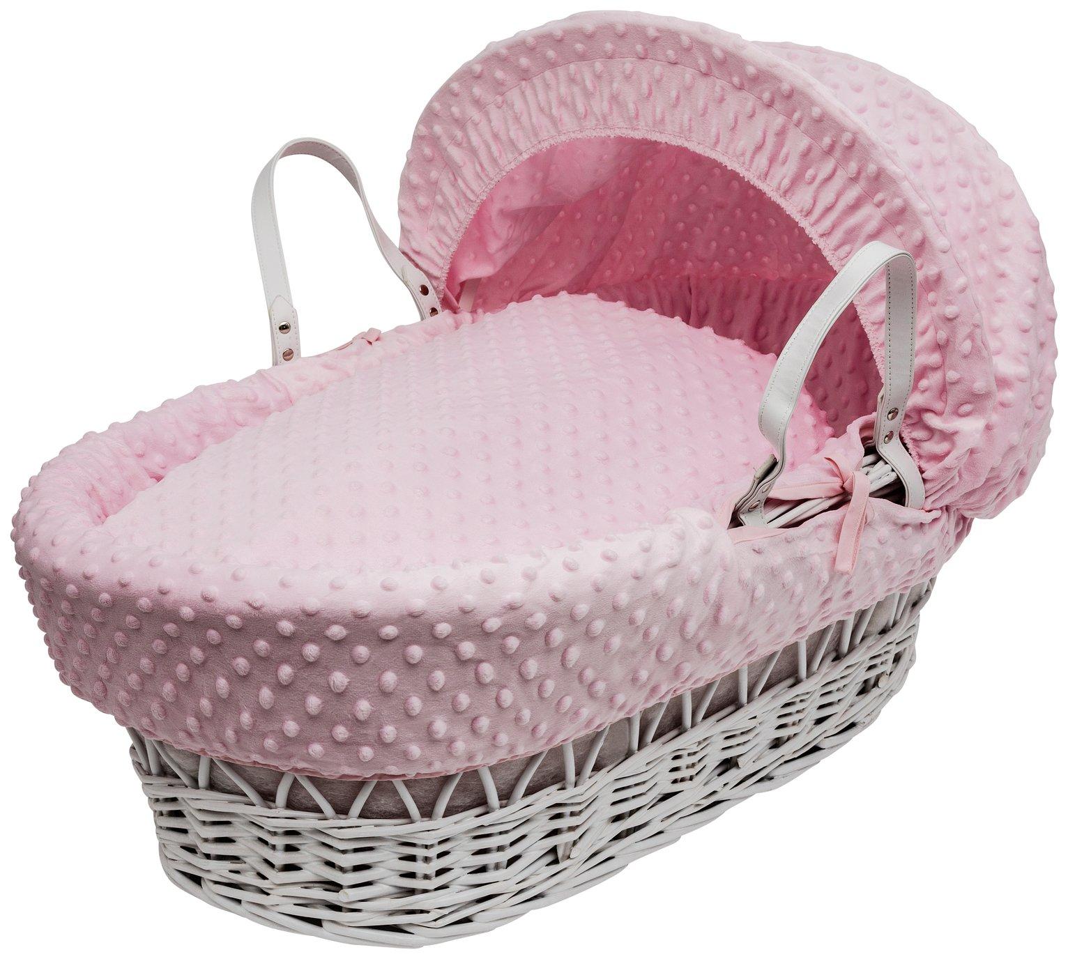 Kinder Valley Pink Dimple White Wicker Basket