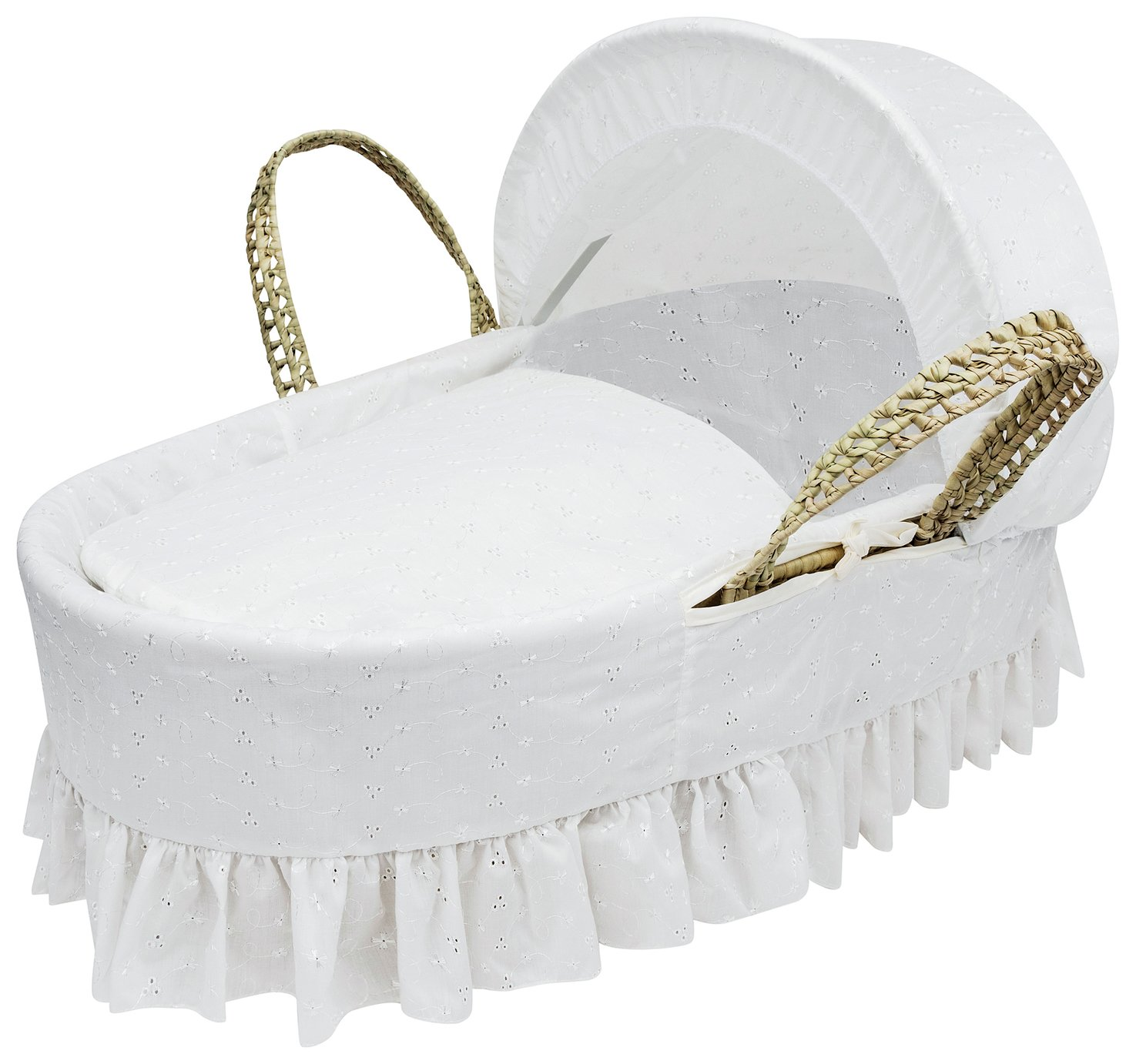 Kinder Valley White Broderie Anglaise Moses Basket