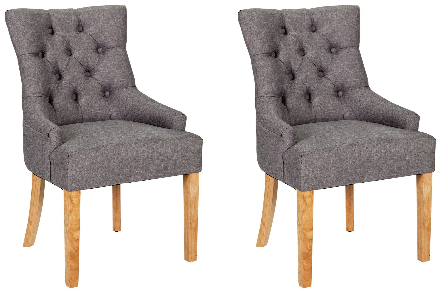 Heart of House Pair of Cherwell Dining Chairs - Charcoal