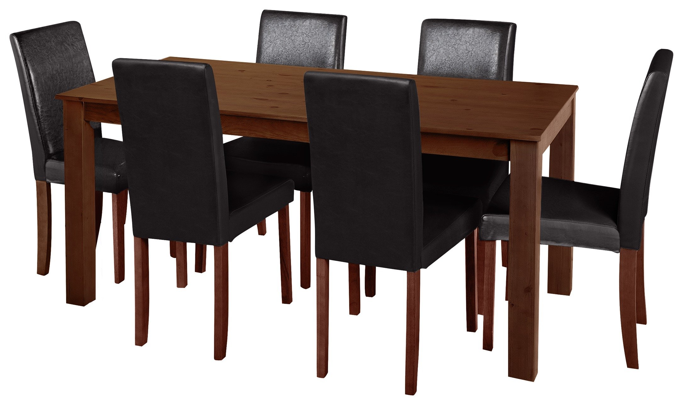Argos Home Ashdon Solid Wood Table & 6 Mid Back Chairs - Blk