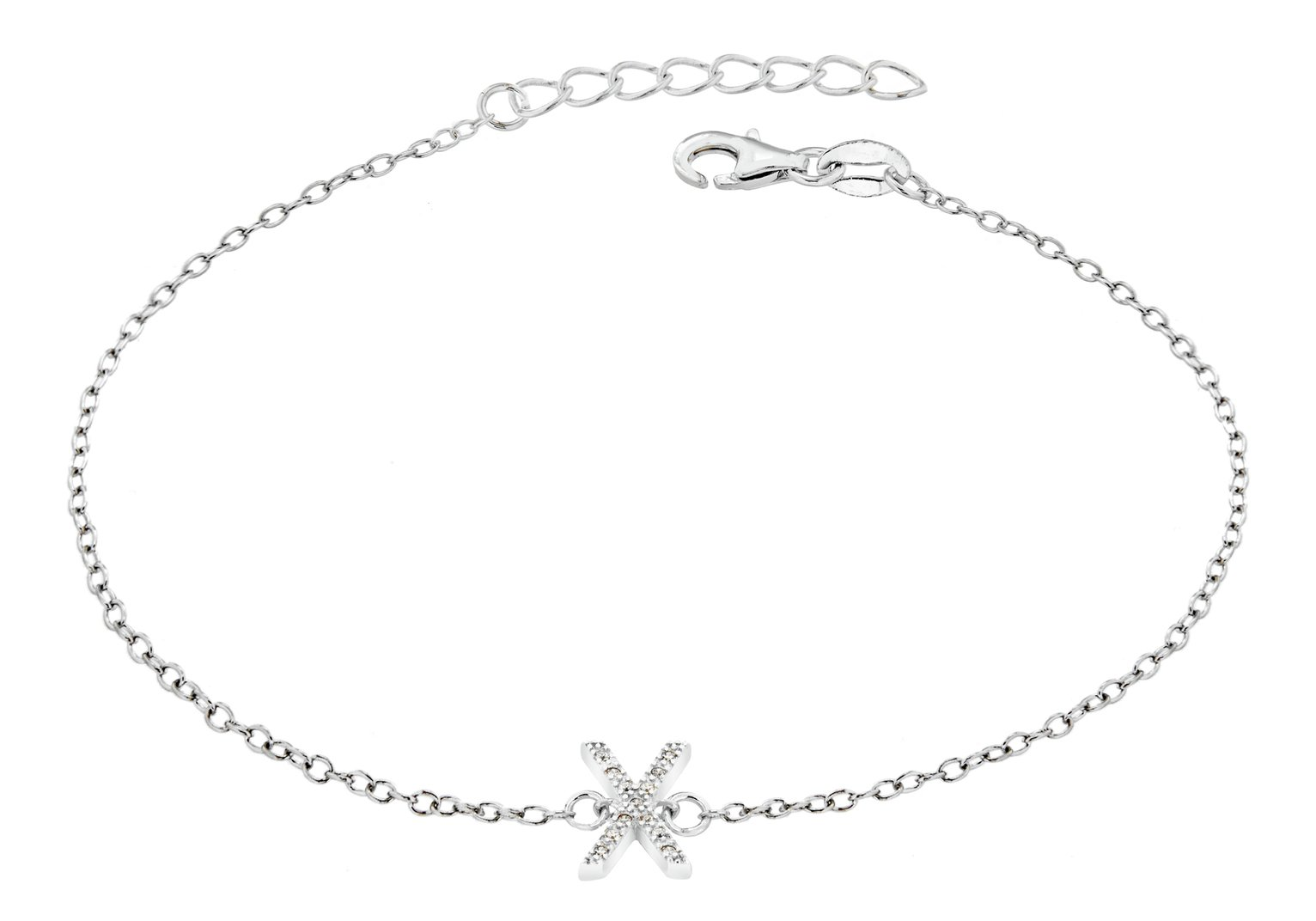 Sterling Silver Cubic Zirconia Initial Bracelet - X