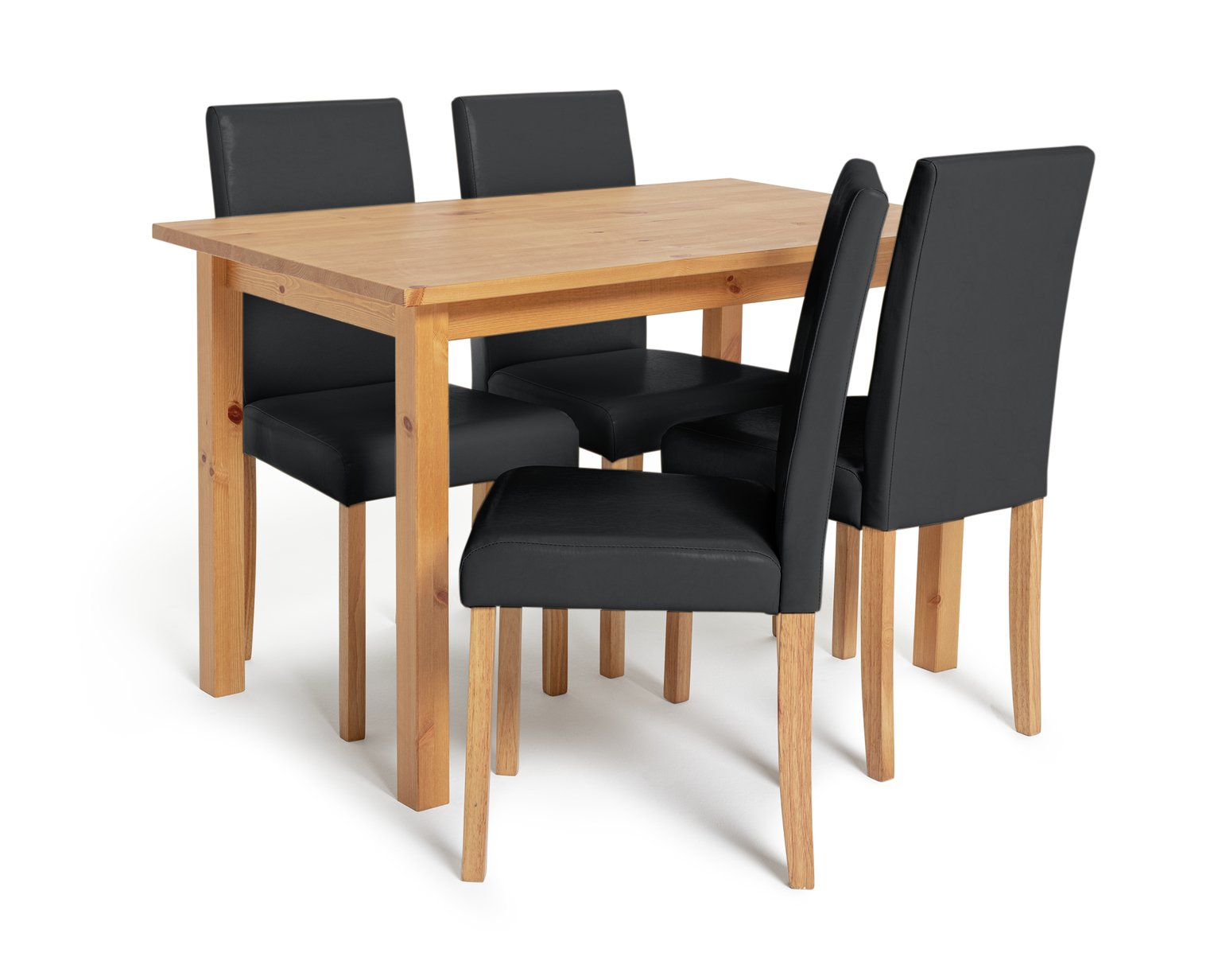 Argos Home Ashdon Solid Wood Table & 4 Mid Back Chairs - Blk