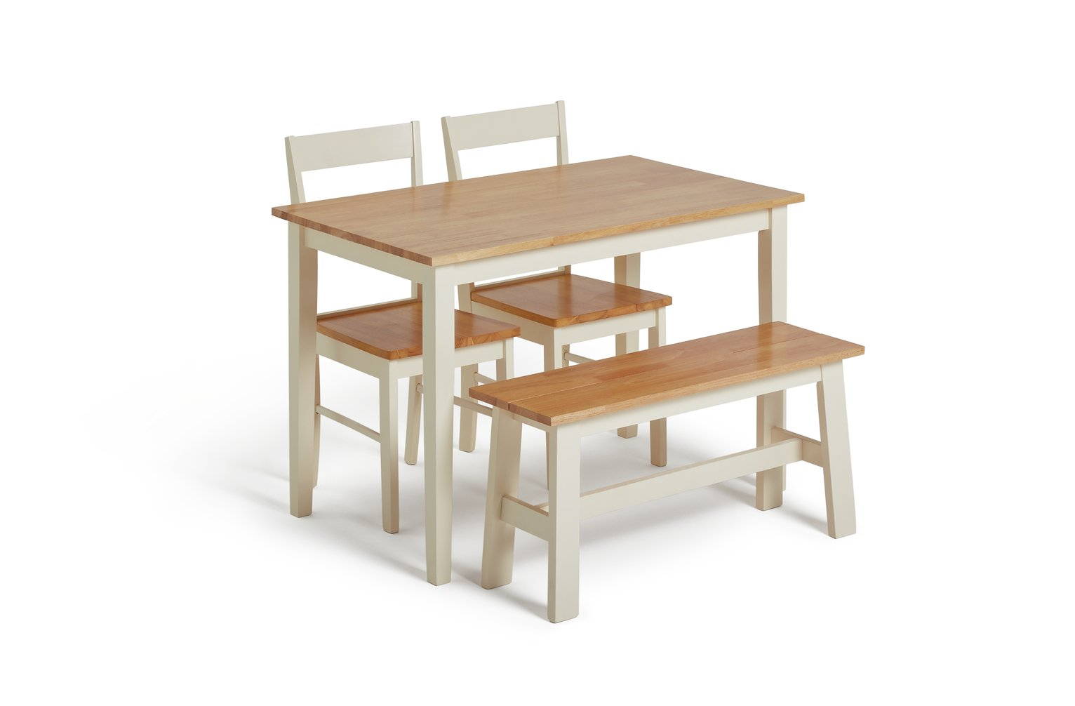 Argos Home Chicago Solid Wood Table, Bench & 2 Chairs