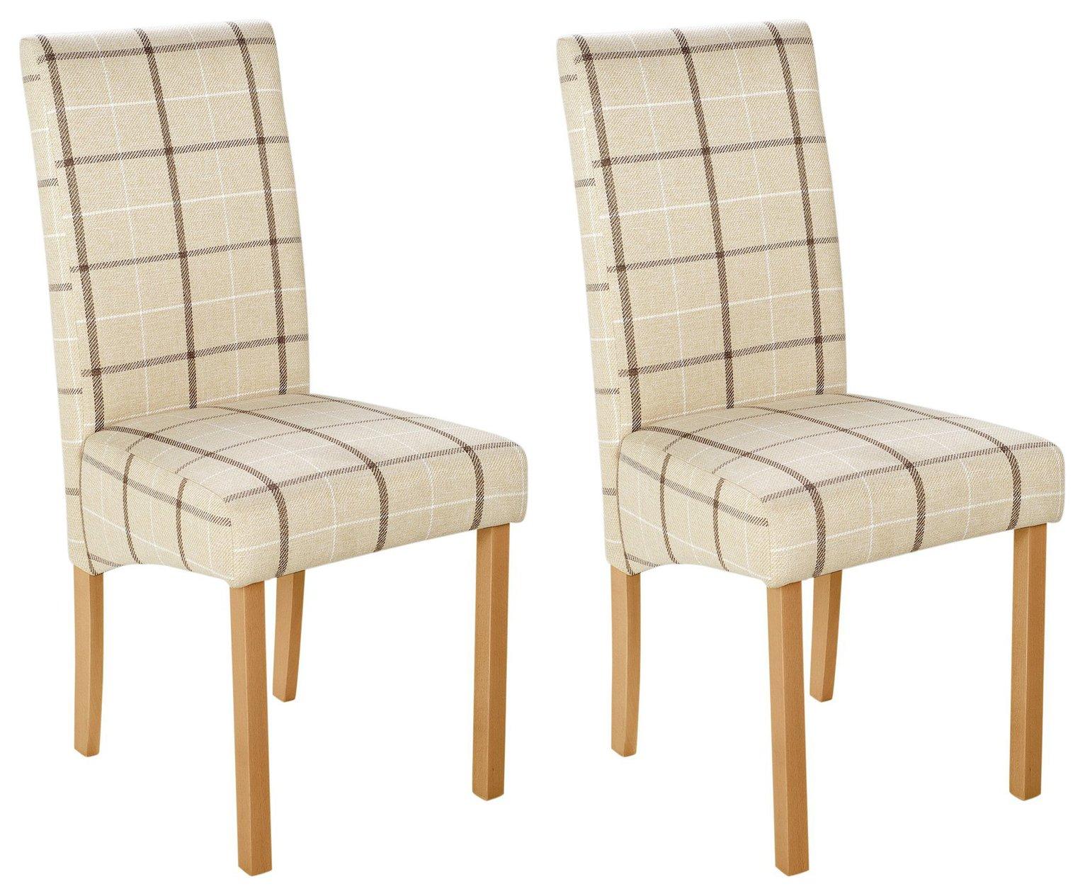 Argos Home Pair of Fabric Skirted Chairs - Cream Check
