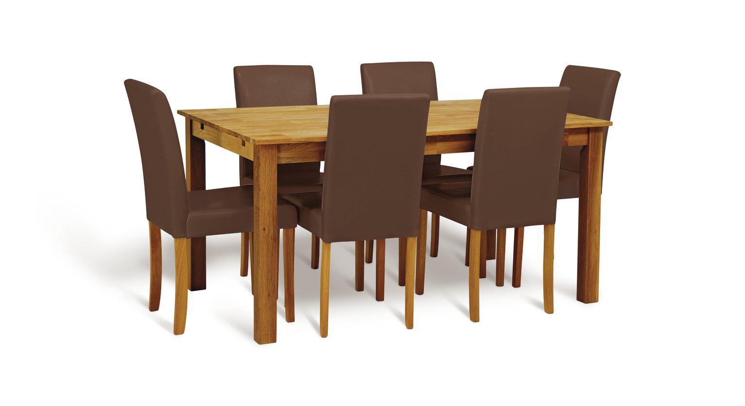 Argos Home Ashdon Solid Wood Table & 6 Mid Back Chairs- Choc