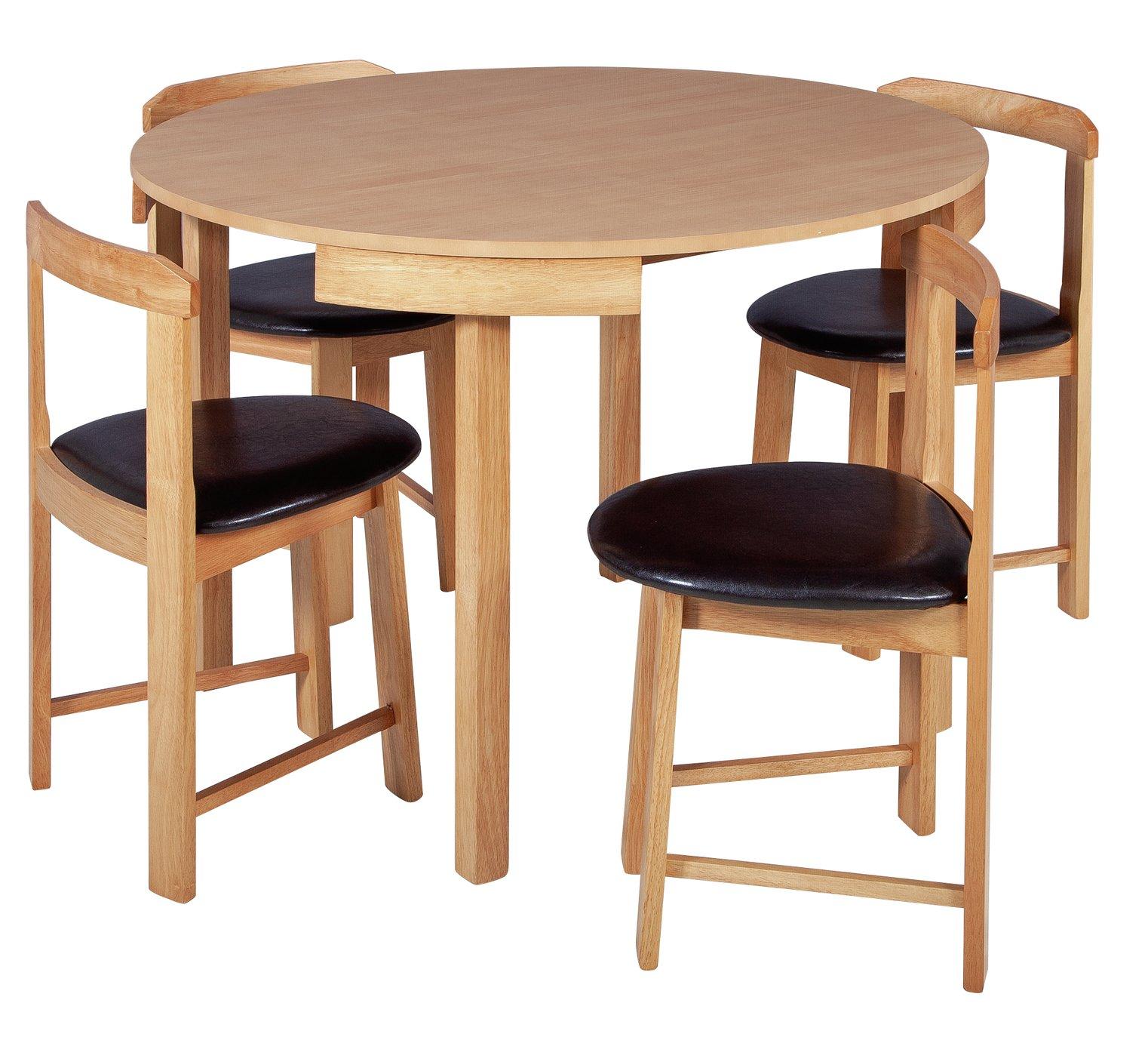 Argos Home Alena Circular Solid Wood Table & 4 Chairs - Oak