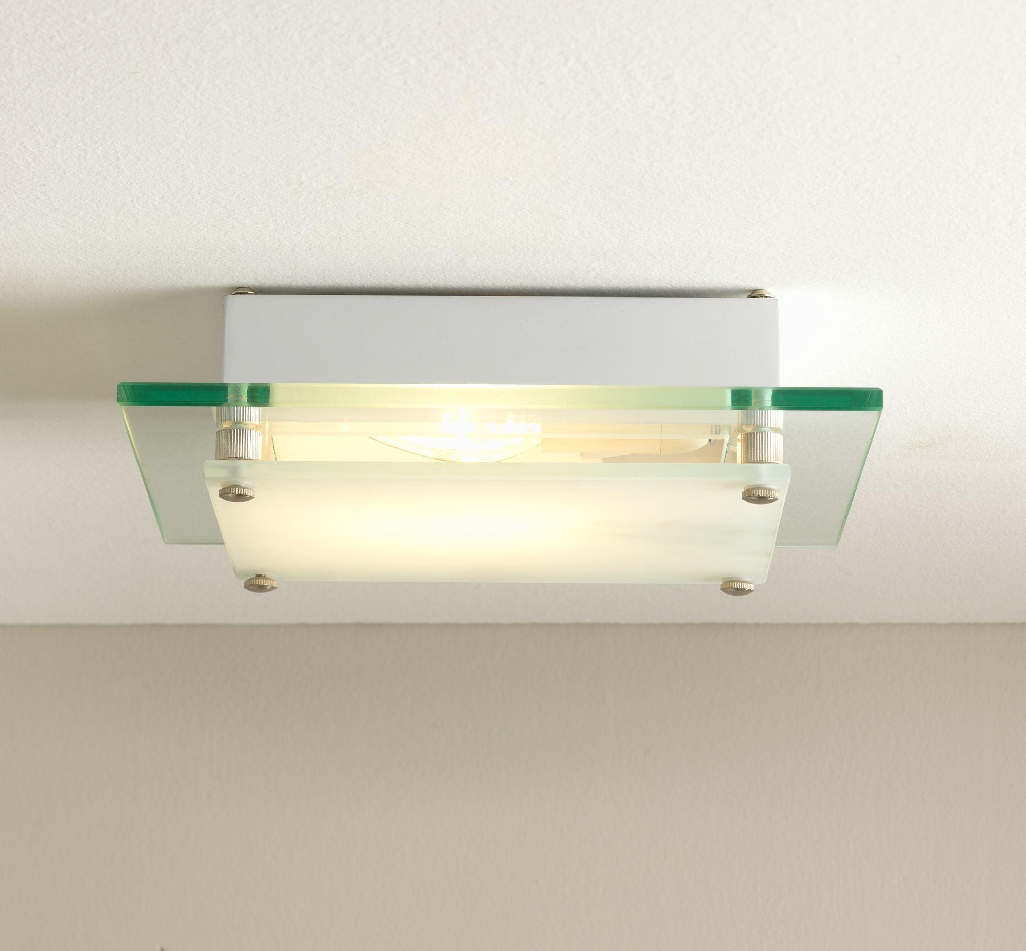 Argos Home - Square Glass Flush Ceiling Fitting - White
