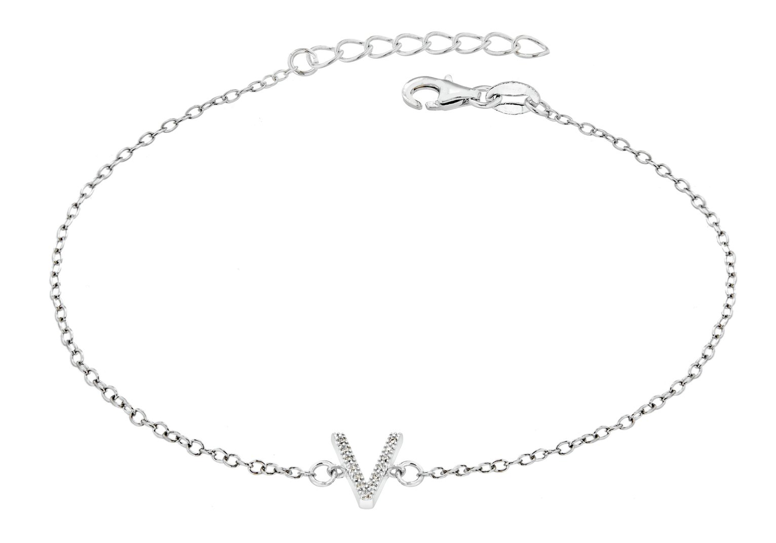 Sterling Silver Cubic Zirconia Initial Bracelet - V