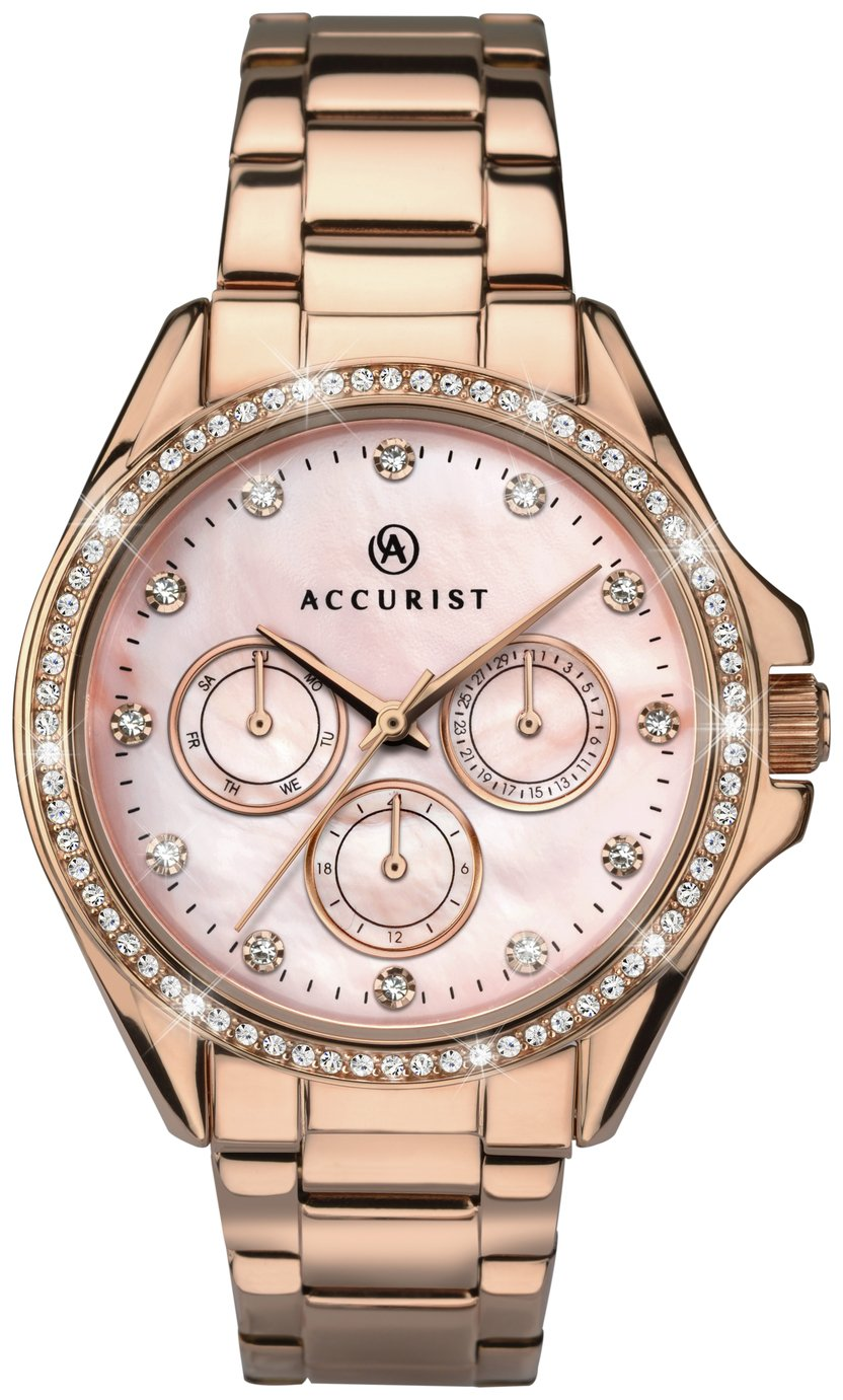 Accurist - Ladies Pink Dial Rose Gold Plated Bracelet - Watch