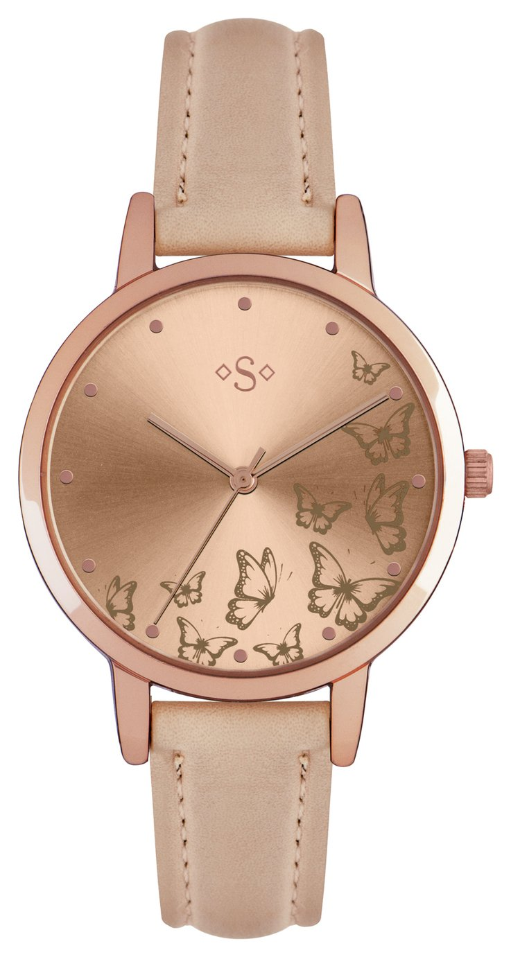 Spirit - Ladies Butterfly Gold Dial Nude Strap - Watch