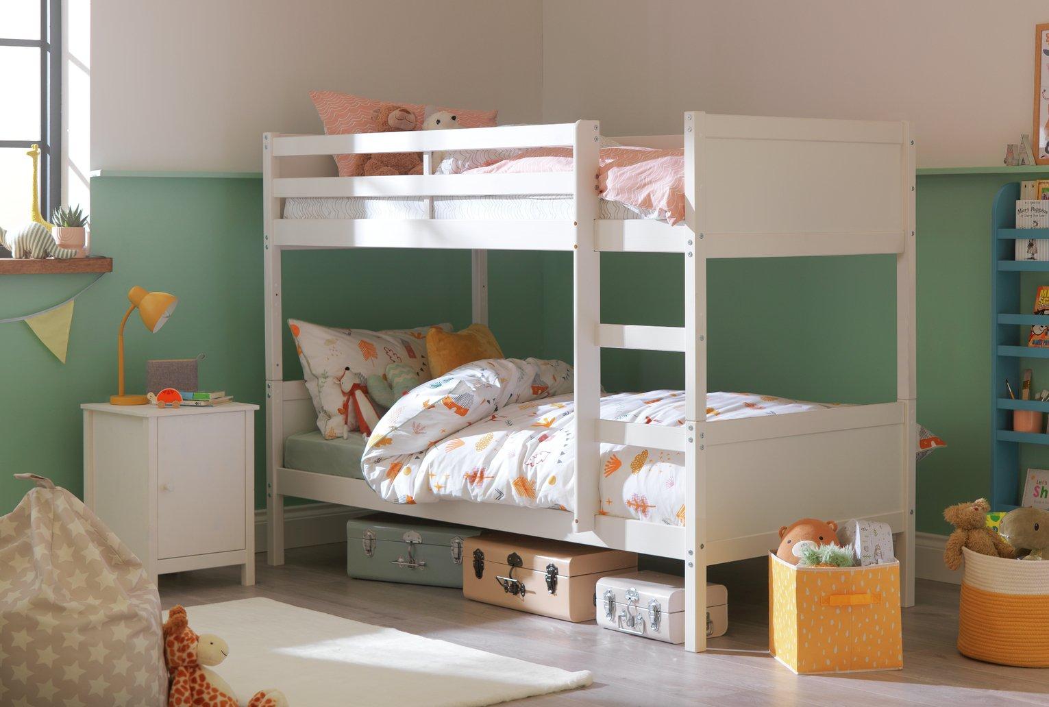 Argos Home Detachable White Bunk Bed & 2 Kids Mattresses