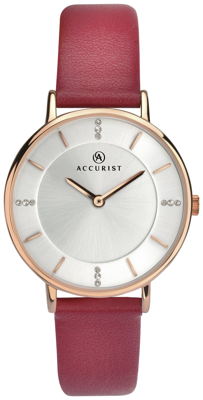 Accurist - Ladies Silver Stone Set Dial Leather Strap - Watch