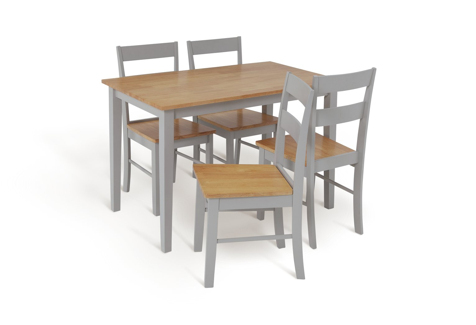Argos Home Chicago Solid Wood Dining Table & 4 Grey Chairs