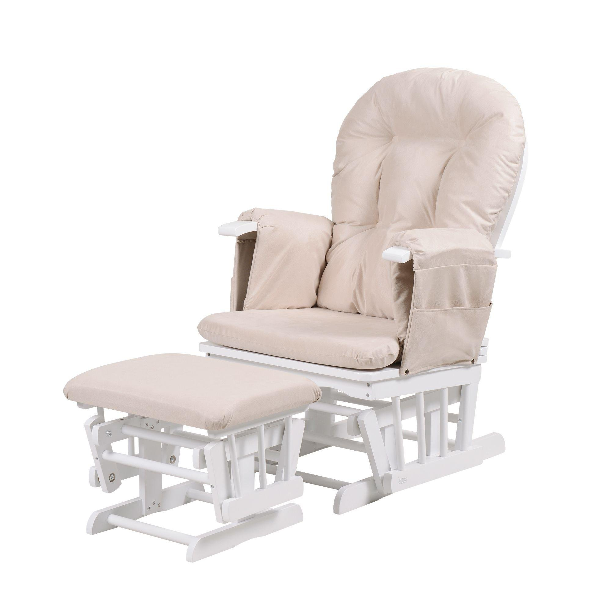 Kub Haywood Reclining Glider and Footstool - White