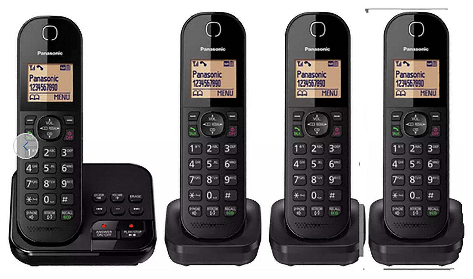 Panasonic - Cordless Telephone & Answer Machine - Quad