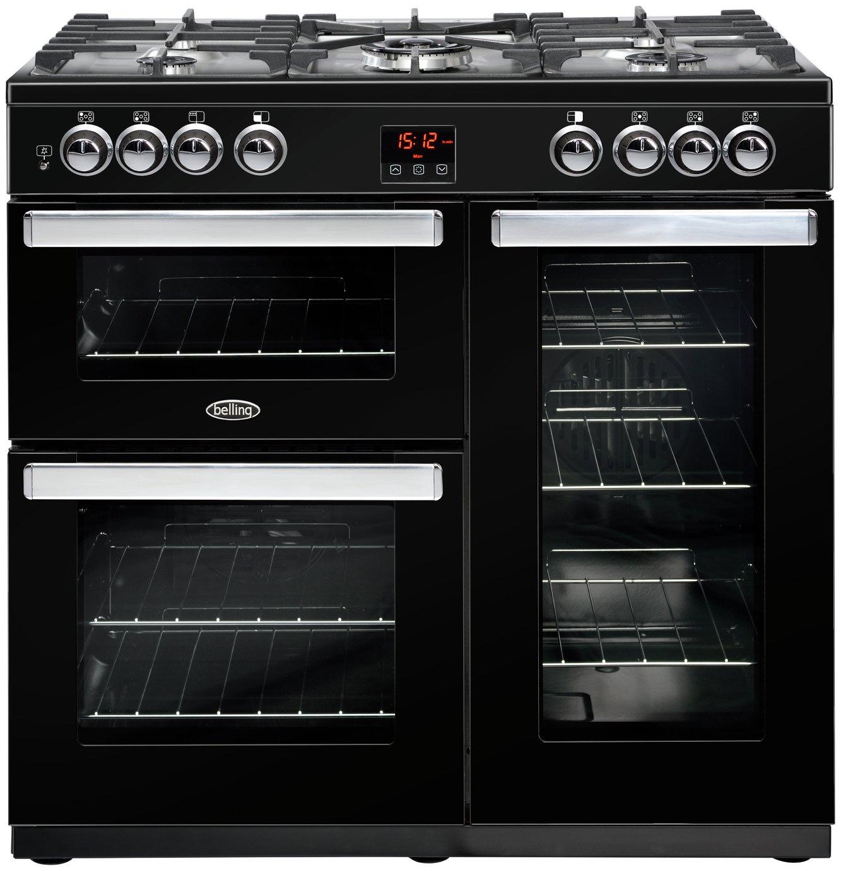 Belling Cookcentre 90DFT Dual Fuel Range Cooker - Black