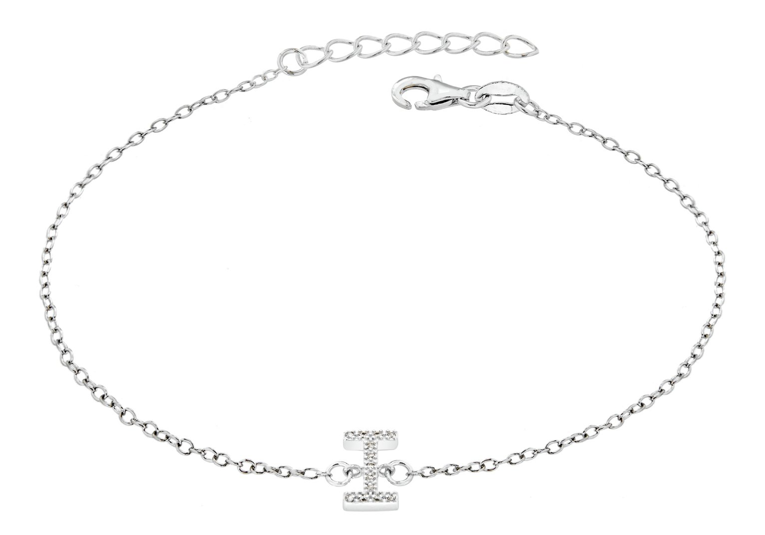 Sterling Silver Cubic Zirconia Initial Bracelet - I