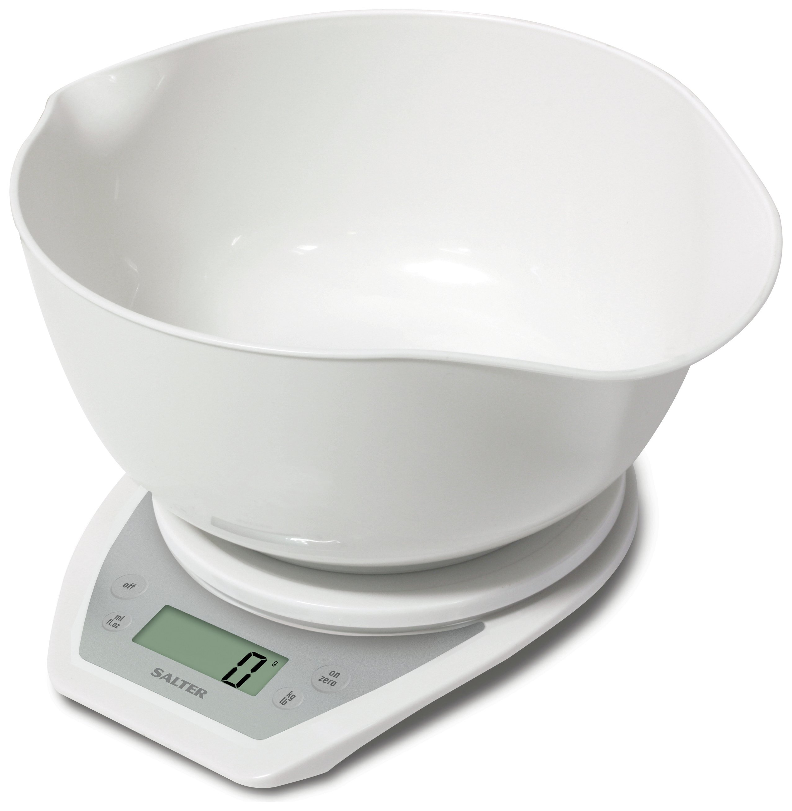 Salter Aquatronic Kitchen Scale and Bowl - White