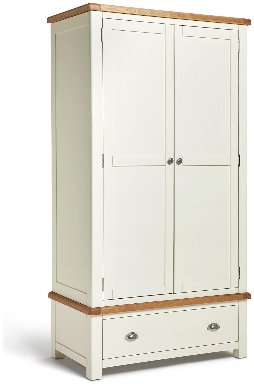 Argos Home Kent 2 Door 1 Drawer Wardrobe - Cream & Oak