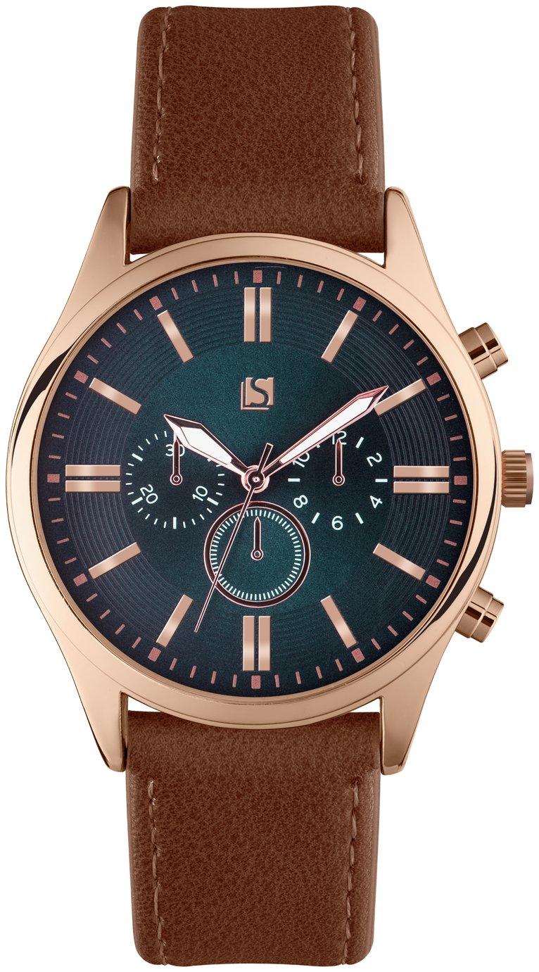 Spirit - Mens Rose Gold Coloured Navy Dial Brown Strap - Watch