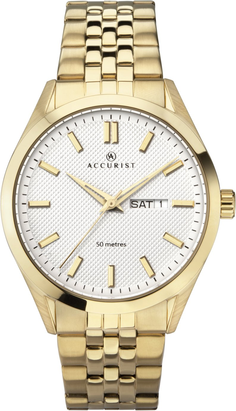Accurist - Mens Gold Plated Day and Date Bracelet - Watch
