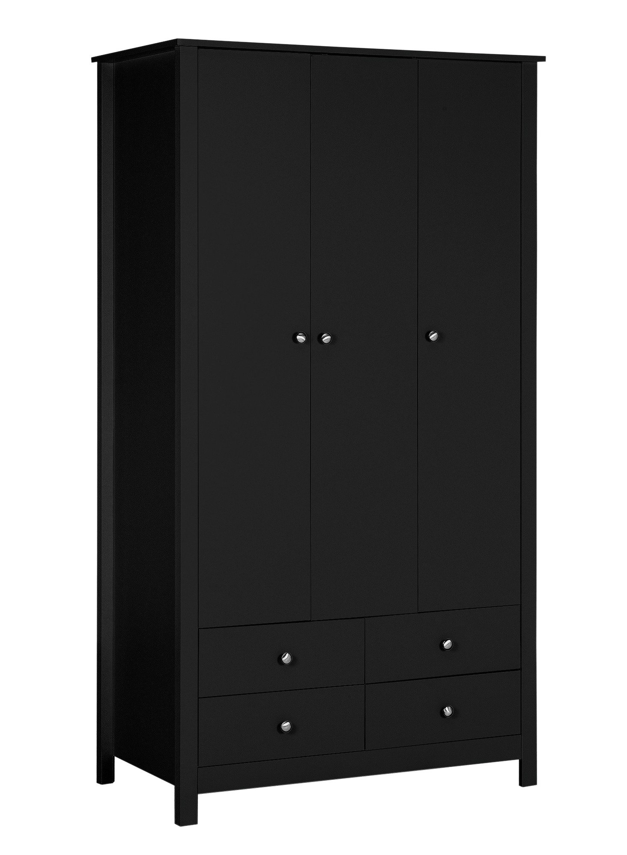 Argos Home Osaka 3 Door 4 Drawer Wardrobe - Black