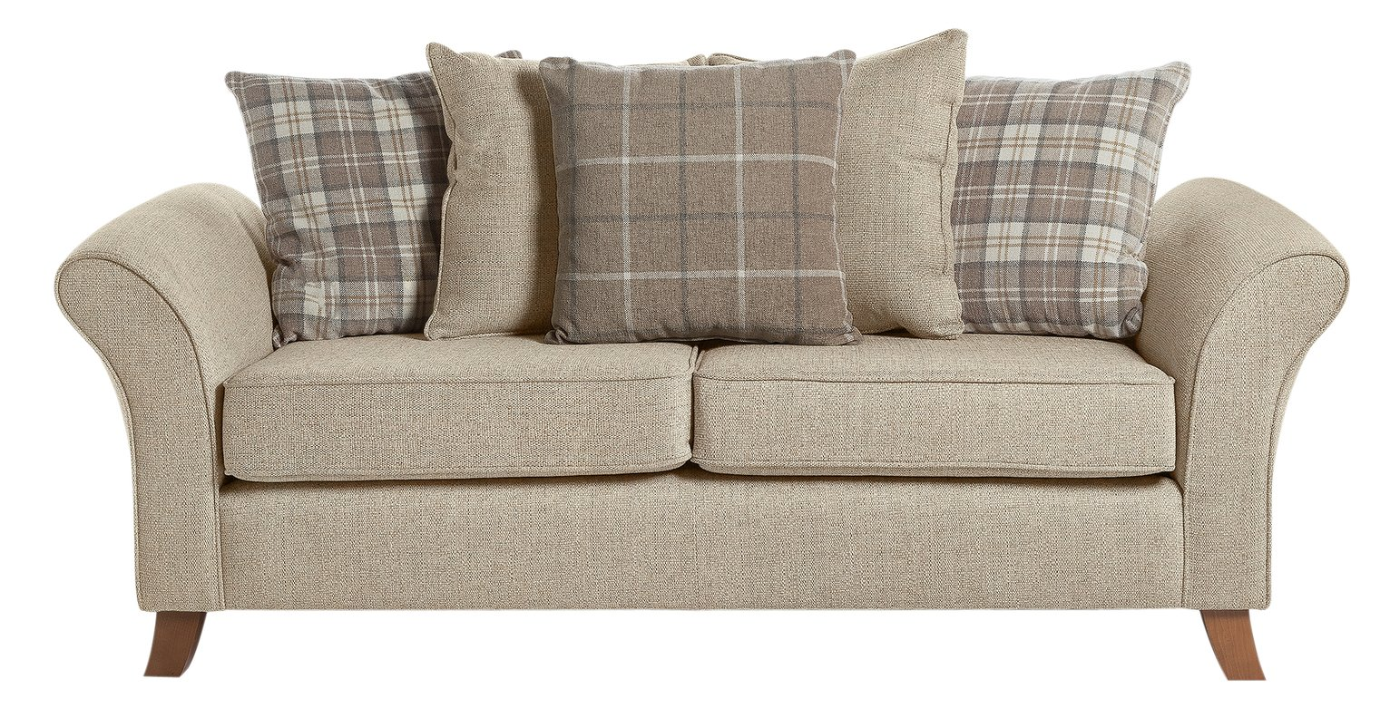 Argos Home Kayla 3 Seater Scatter Back Fabric Sofa - Beige