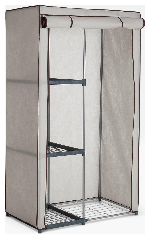 Argos Home Metal and Polycotton Single Wardrobe - Cream