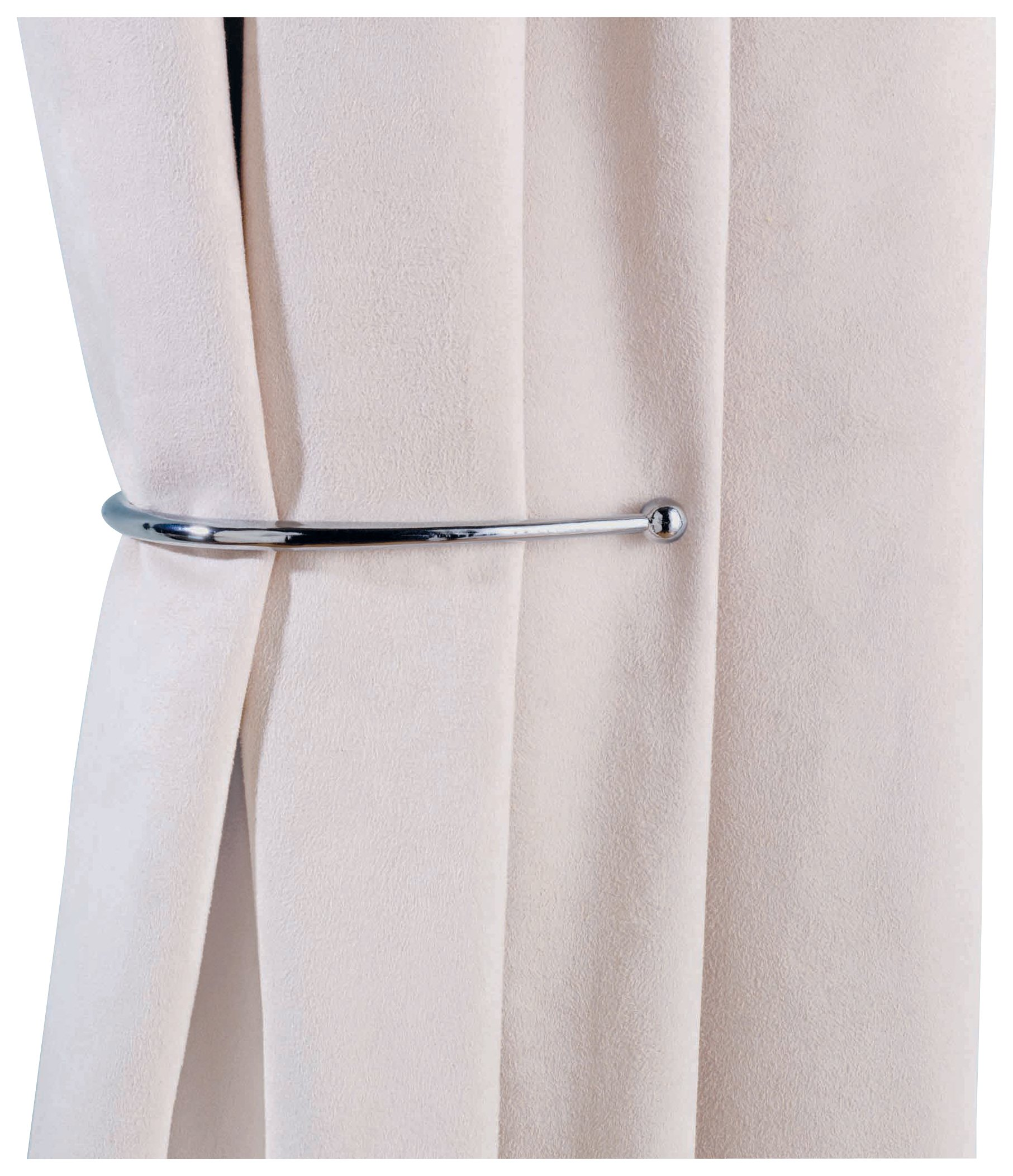 Argos Home Pair of J-Shaped Curtain Holdbacks - Chrome