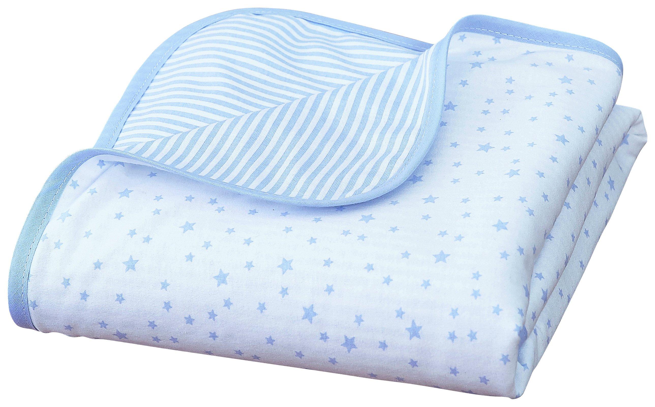 Clair De Lune Stars & Stripes Cot Blanket -  Blue