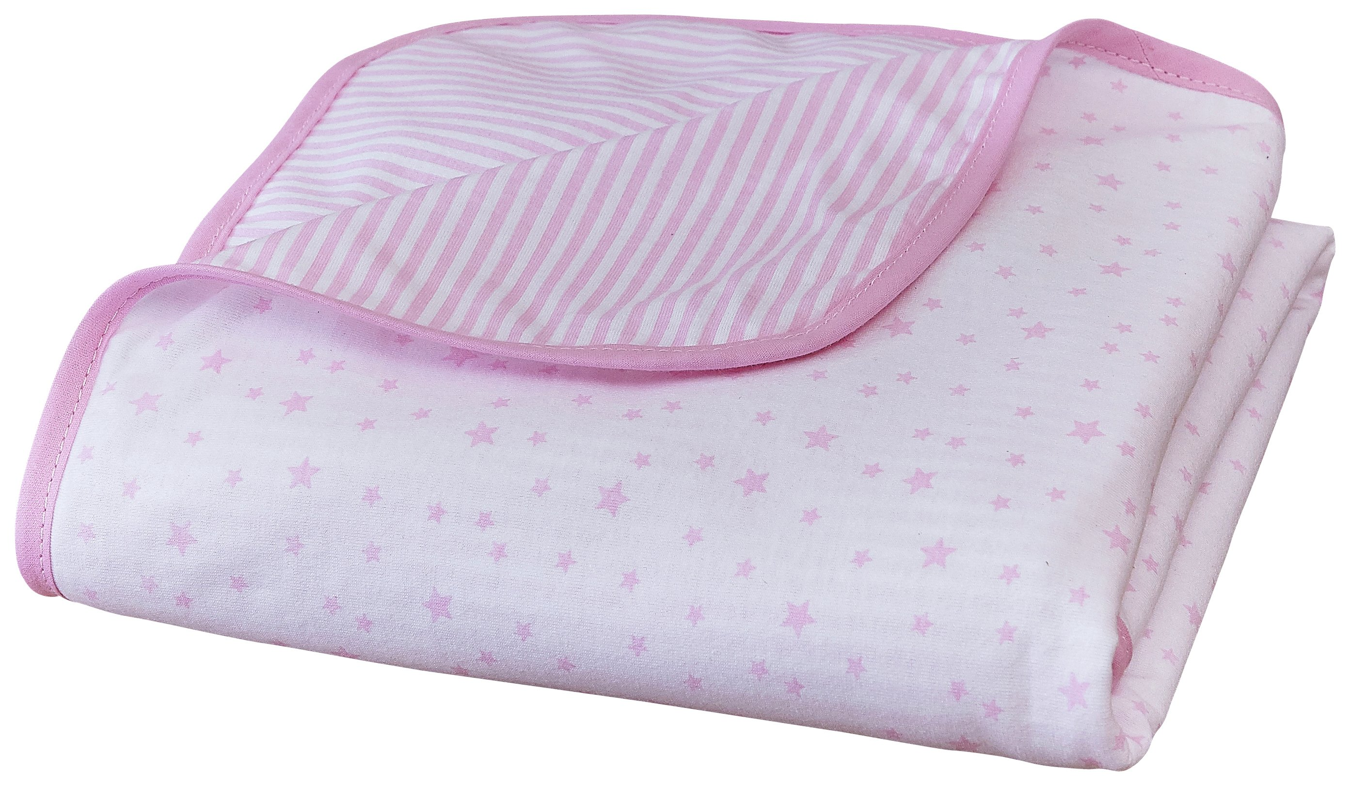 Clair De Lune Stars & Stripes Pram Blanket - Pink