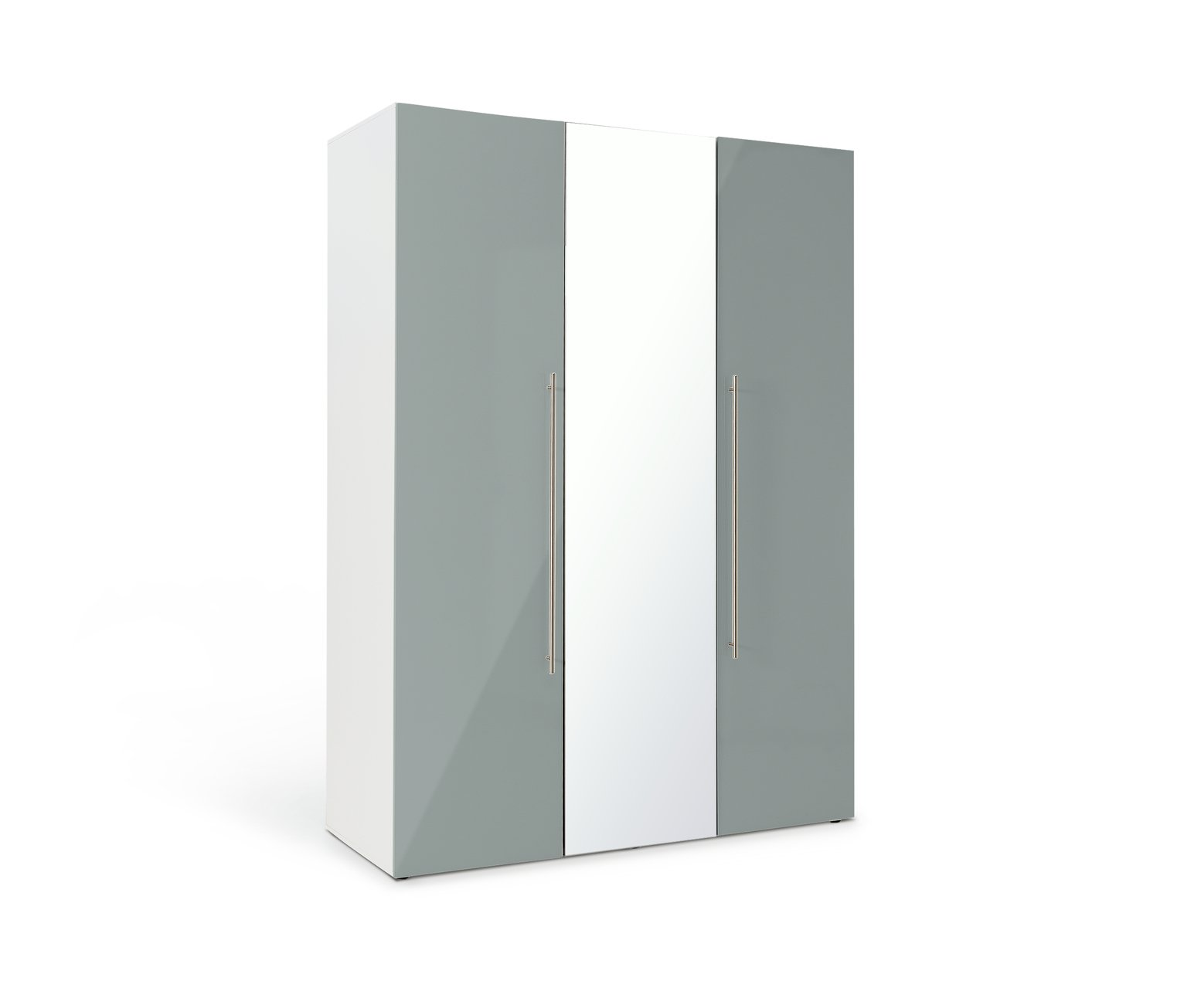 Argos Home Atlas 3 Door Mirrored Wardrobe - Grey Gloss & White at Argos