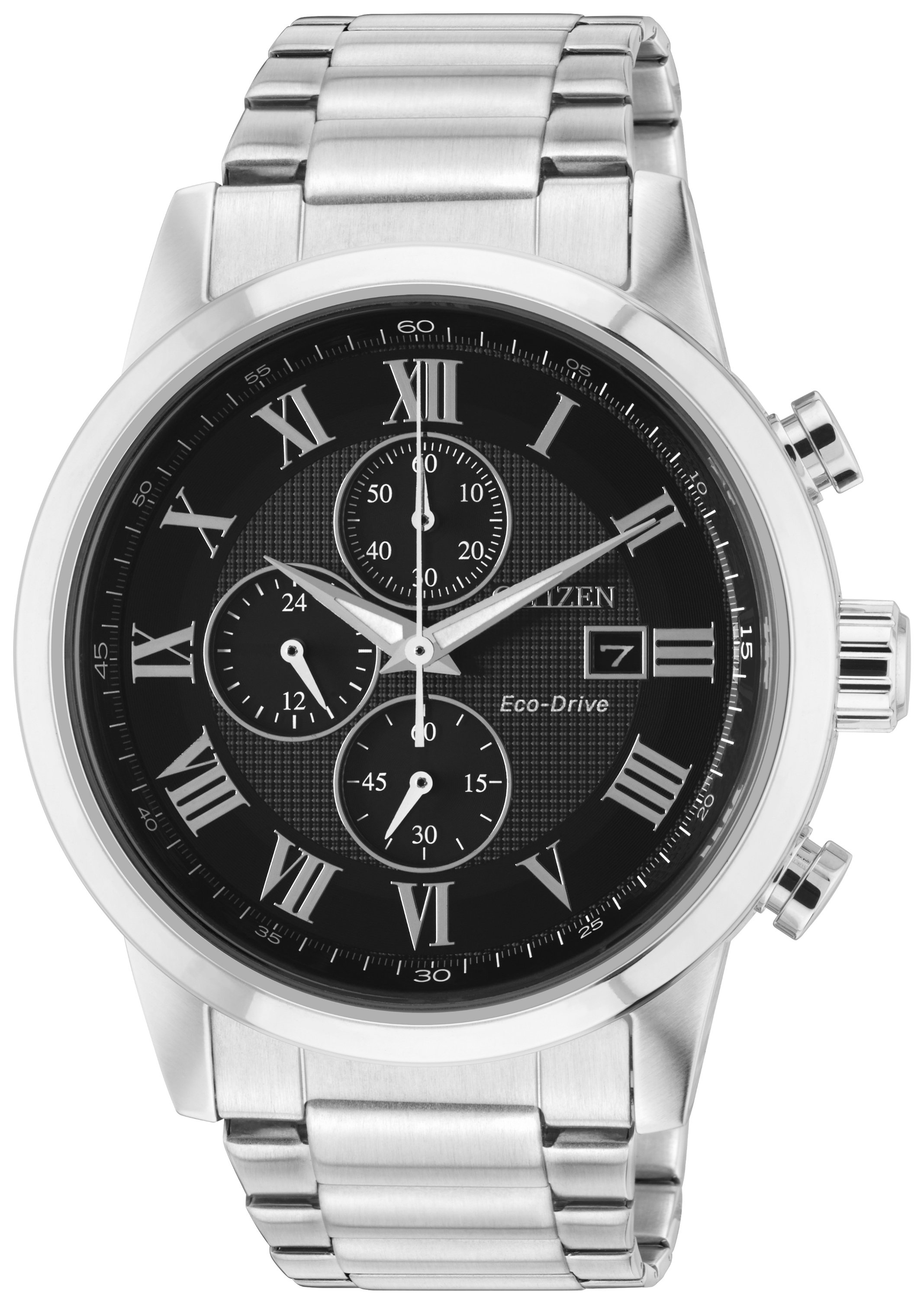 Citizen Black Dial Eco-Drive Men's Stainless Steel Chronograph Watch