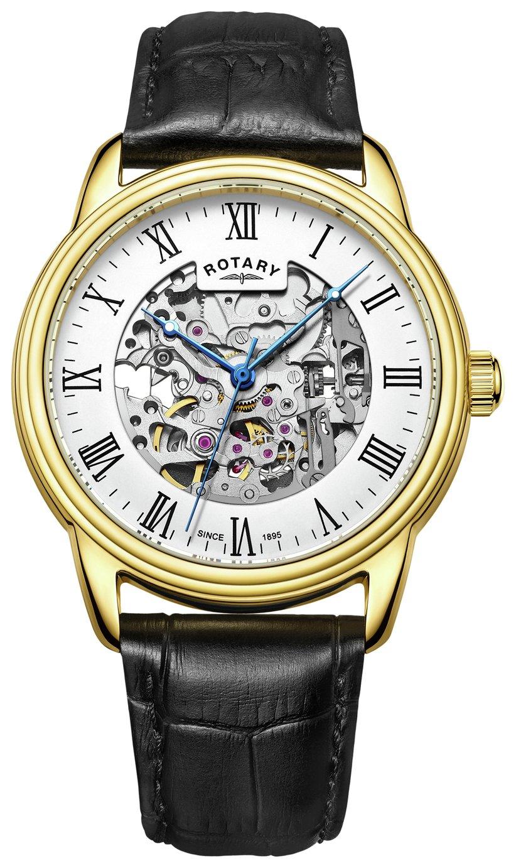 Rotary Men's Black Leather Strap Skeleton Watch