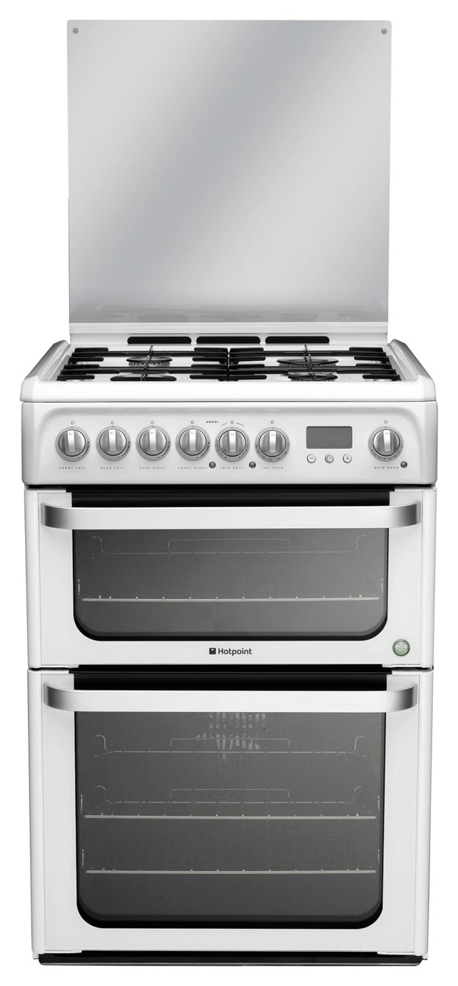 Hotpoint HUD61PS Double Dual Fuel Cooker - White.
