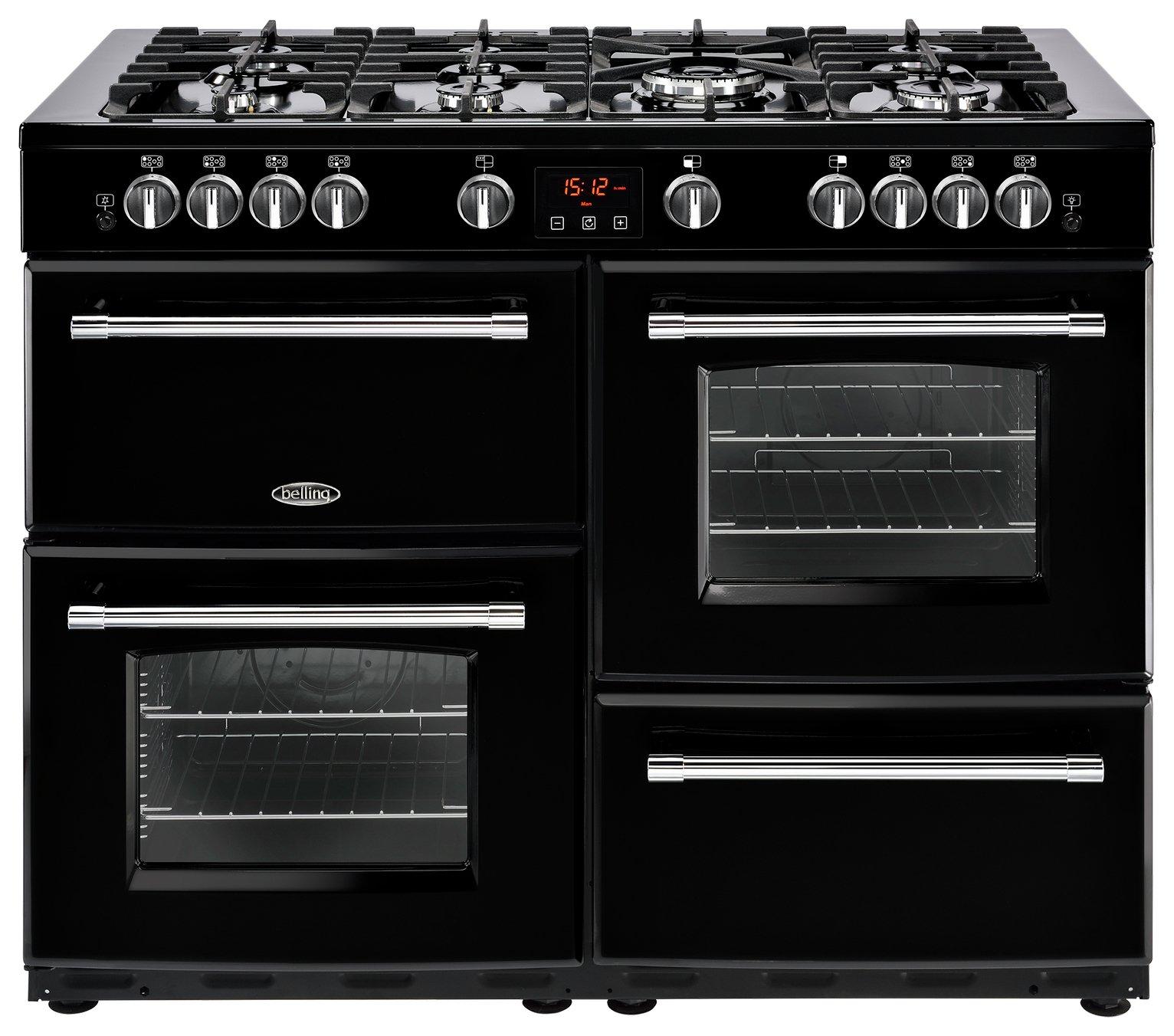 Belling Farmhouse 444444145 Dual Fuel Range Cooker - Black