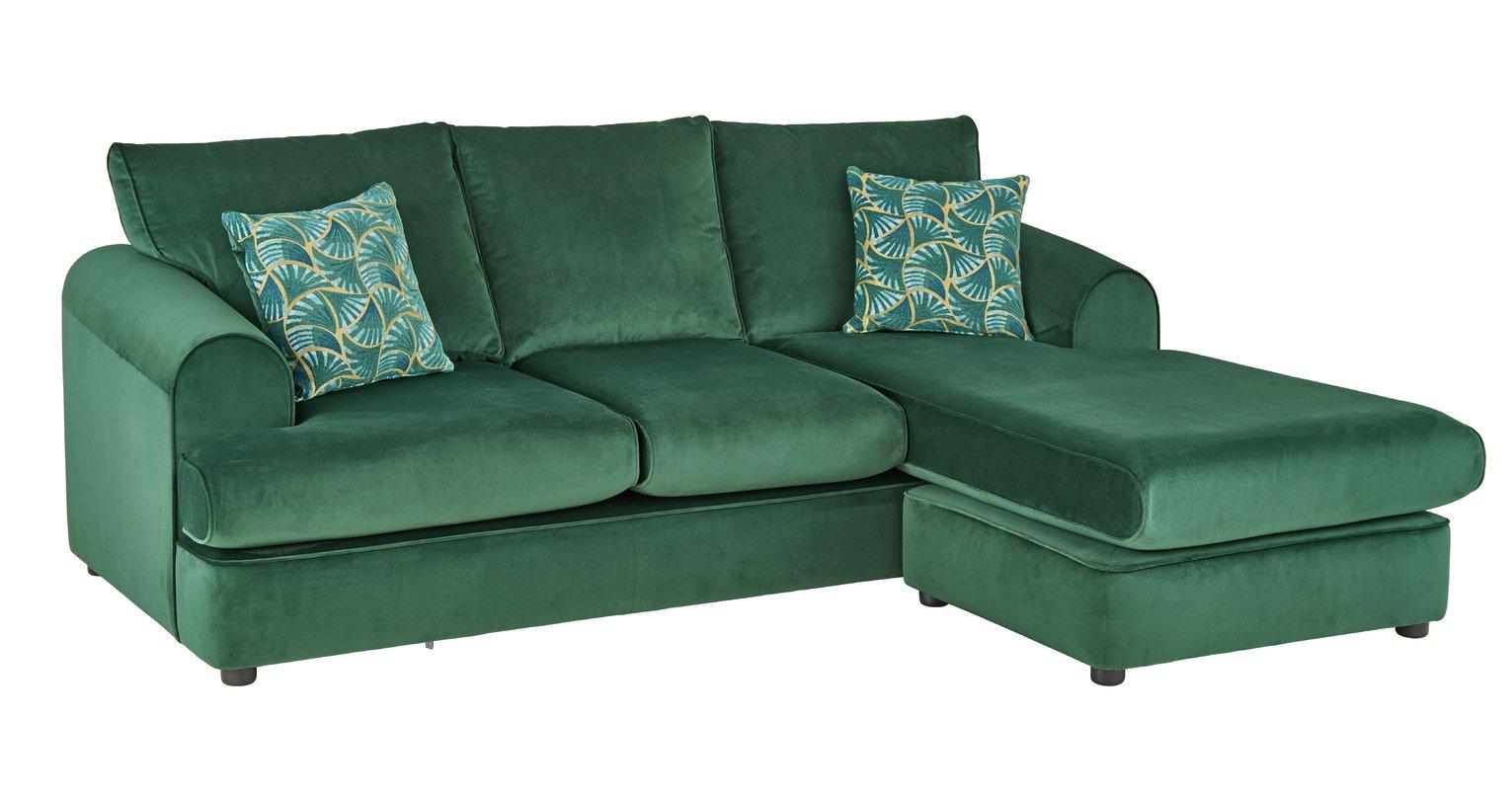 Argos Home Atticus Right Corner Velvet Sofa - Green