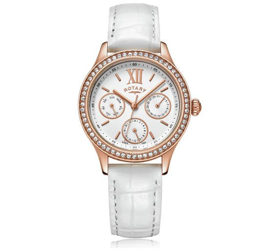 Rotary Ladies' Rose Gold Plated Stone Set Multi Dial Watch