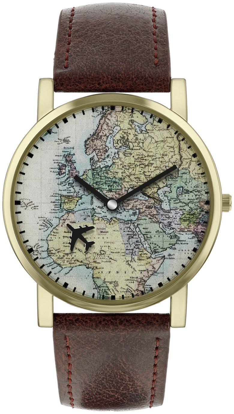 Spirit Men\'s Brown Faux Leather Strap World Map Watch ...