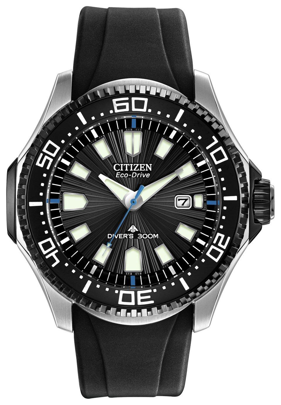 Citizen Eco-Drive Men's Black Silicone Rotating Bezel Watch